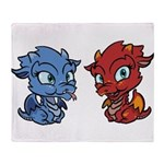 Blue and Red Dragons Throw Blanket