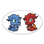 Blue and Red Dragons Sticker (Oval)