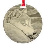 Shiba Inu Dog Art Round Ornament