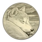 Shiba Inu Dog Art Round Car Magnet