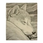 Shiba Inu Dog Art Throw Blanket