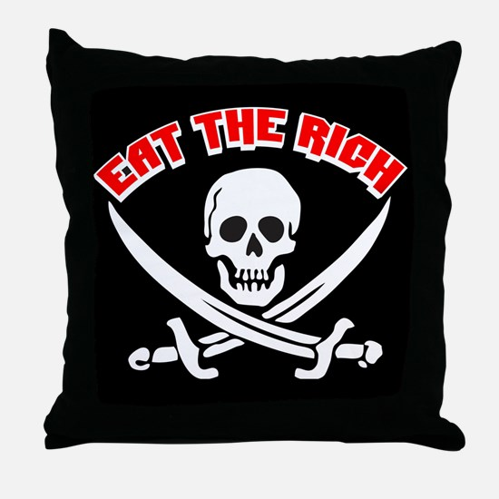 Jolly Roger: Eat The Rich! Throw Pillow