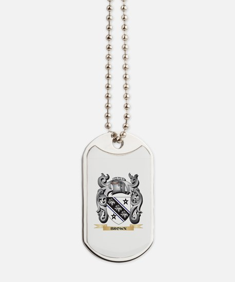 Brown Family Crest - Brown Coat of Arms Dog Tags