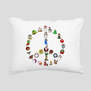 Christmas Peace Sign Rectangular Canvas Pillow