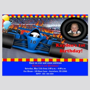 Race Car Birthday Invitation 5x7 Flat Cards