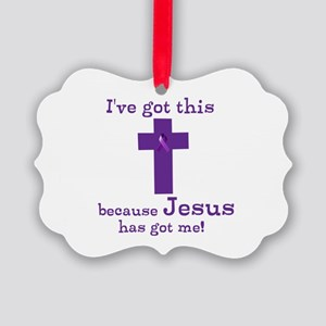 Purple Jesus Has Got Me Picture Ornament