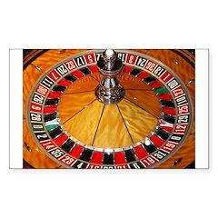 Casino roulette wheel La Sticker (Rectangle 10 pk)