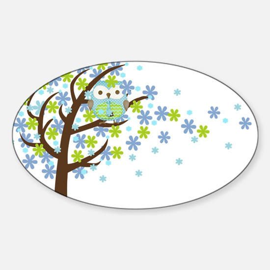Blue Windy Tree Owl Sticker (Oval)