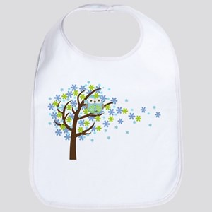 Blue Windy Tree Owl Bib