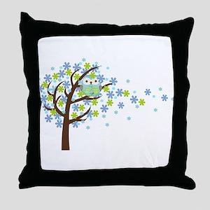 Blue Windy Tree Owl Throw Pillow