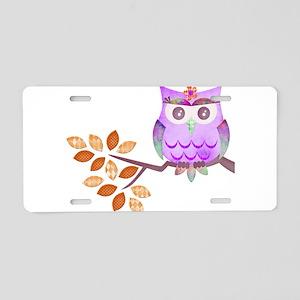 Purple Flower Owl in Tree Aluminum License Plate