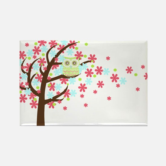 Bright Eyes Windy Tree Owl Rectangle Magnet (10 pa