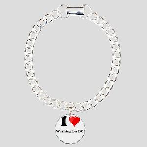 I Heart Love Washington DC Charm Bracelet, One