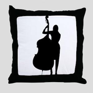 Double Bass Player Throw Pillow