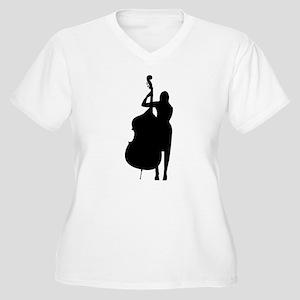 Double Bass Player Women's Plus Size V-Neck T-Shir