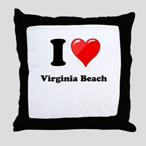 I Heart Love Virginia Beach Throw Pillow