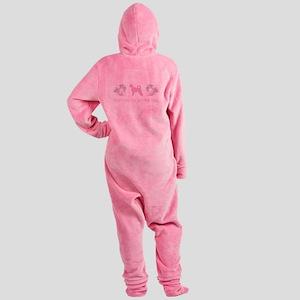 12-pinkgray Footed Pajamas