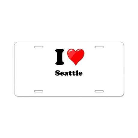 I Heart Love Seattle.png Aluminum License Plate