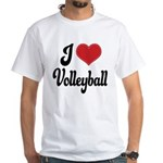 I Love Volleyball White T-Shirt