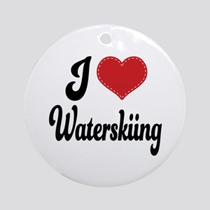 I Love Waterskiing Ornament (Round)