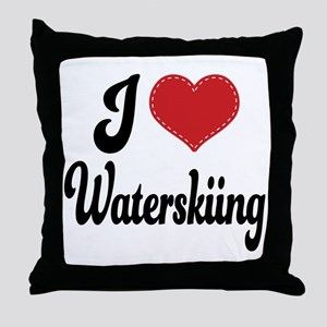 I Love Waterskiing Throw Pillow