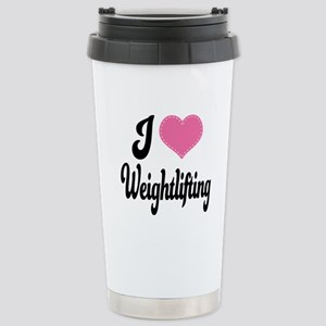 I Love Weightlifting Stainless Steel Travel Mug