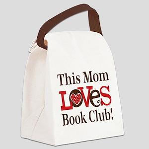 Mom Loves Book Club Canvas Lunch Bag