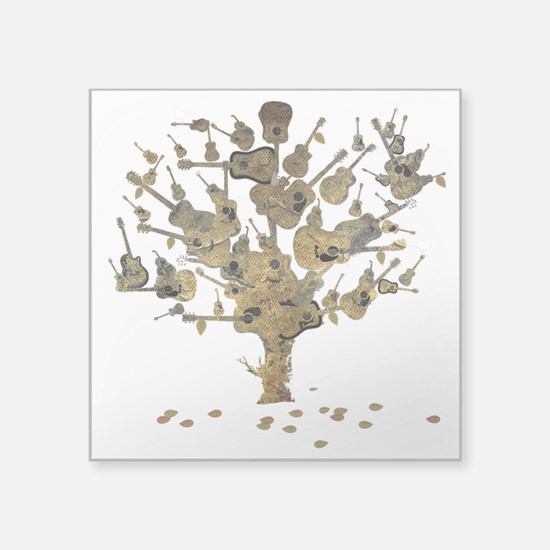 "Guitar Tree Square Sticker 3"" x 3"""
