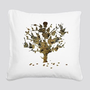 Guitar Tree Square Canvas Pillow