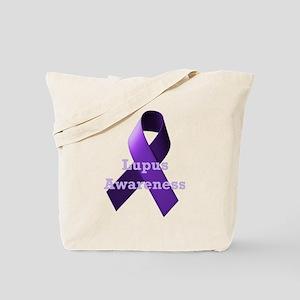 Purple Ribbon Lupus Awareness Tote Bag