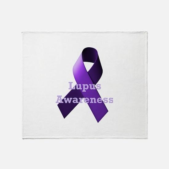 Purple Ribbon Lupus Awareness Throw Blanket