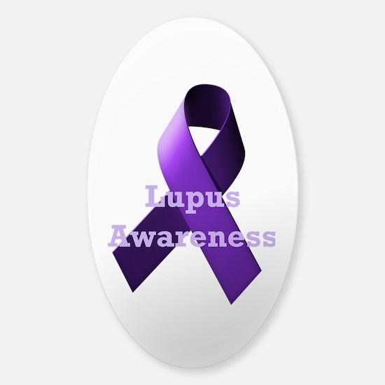 Purple Ribbon Lupus Awareness Sticker (Oval)