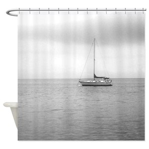 Sailboat Black White Shower Curtains