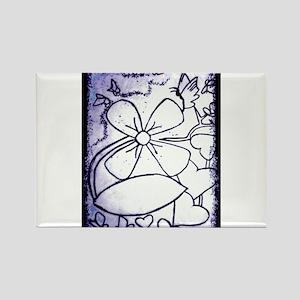 BLACK AND WHITE FLOWER Rectangle Magnet