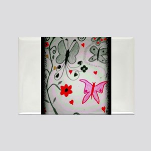 Red and Black Butterfly Mirage Rectangle Magnet