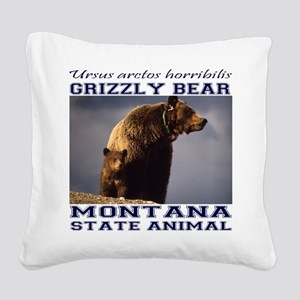 Grizzly - Montana State Animal Square Canvas Pillo