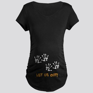 Twin Hand Prints Maternity Dark T-Shirt