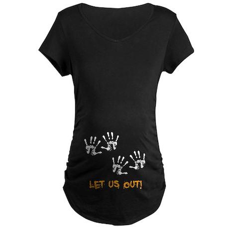 Twin Hand Prints Maternity Dark T-Shirt