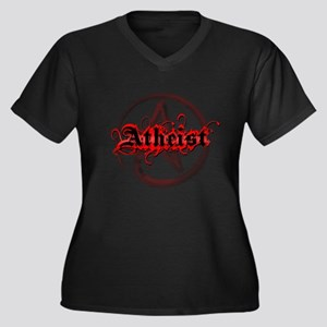 Atheist Red Women's Plus Size V-Neck Dark T-Shirt