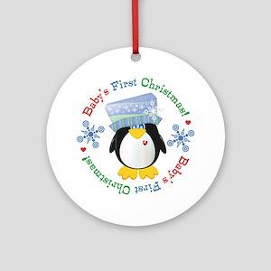 #5 Penguin 1st Christmas Ornament (Round)