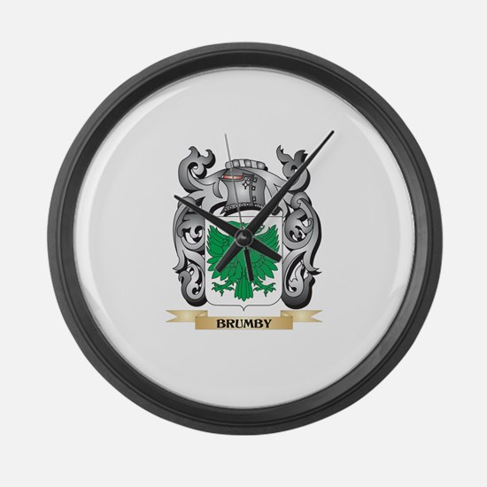 Brumby Family Crest - Brumby Coat Large Wall Clock
