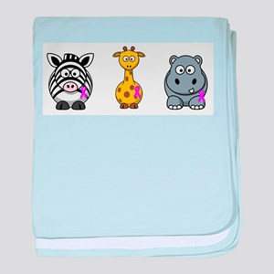breast cancer cartoon animalslrg baby blanket