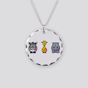 breast cancer cartoon animalslrg Necklace Circ
