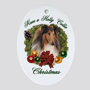 Holly Collie Christmas Oval Ornament