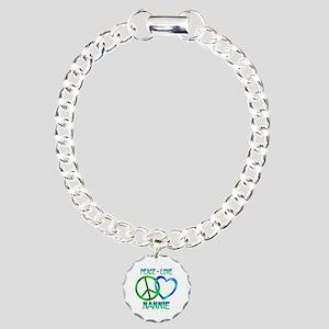 Peace Love Nannie Charm Bracelet, One Charm