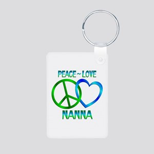 Peace Love Nanna Aluminum Photo Keychain
