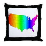Rainbow States Throw Pillow