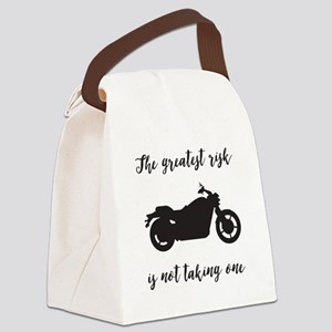 Greatest Risk Moto Script Canvas Lunch Bag