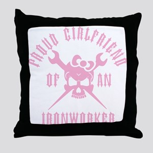 Proud Girlfriend of an Ironworker - PINK Throw Pil