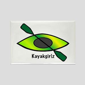 Kayakgirlz Lime Green Kayak Rectangle Magnet